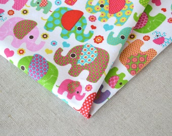 Cute elephants cotton fabric 19.68 x 55.11 inch