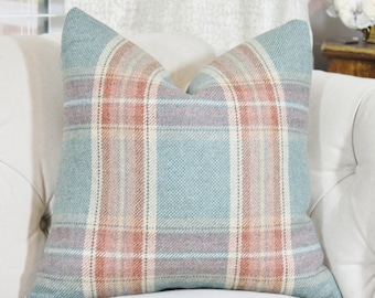 16 x 16 Plaid Pillow - Colefax and Fowler - Teal Plaid Throw Pillow - Designer Decorative Neutral Pillow - Wool Plaid - Erskine Plaid