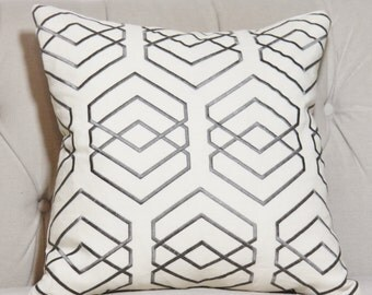Gray and Ivory Geometric Pillow Cover - Graphic Gray Pillow Cover -Lee Jofa - Throw Pillow - Diamond Grey Pillow Cover - Cushion