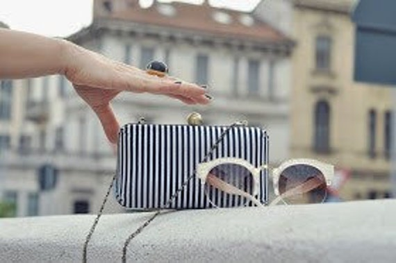 Black & White Stripe Minaudière Box Clutch - Evening/Bridesmaid Purse - Vintage Style - Crossbody Chain - Made to Order - Free U.S. Shipping
