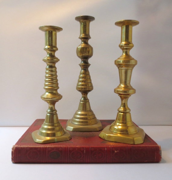 3 Antique English Brass Beehive Pushup Candlesticks 2 With