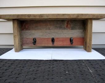 Barnwood  Shelf, Coat Rack, Key Holder