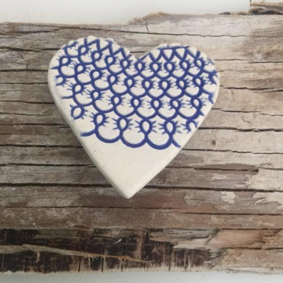 Handmade ceramic blue tex...