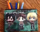 Attack on Titan Cosmetic Bag - Attack on Titan Pencil Bag - Shingeki no Kyojin Bag - Chibis of Eren, Levi, Mikasa, Hanji, Armin and Erwin