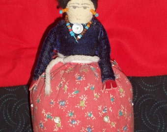old Pin Cushion Vintage Native American Doll  made by Native Americans in New Mexico
