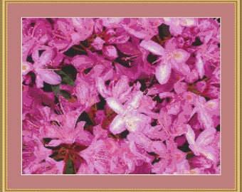 Rhododendron Flowers Cross Stitch Pattern