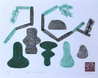 Zen Garden. original linocut monotype print, geometric tribal art