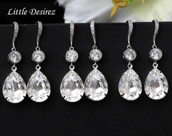 SALE Set of 4 5 6 7 8 pairs Swarovski Crystal Clear Earrings Teardrop Earrings Bridesmaid Earrings Cubic Zirconia White Earrings CC31HC