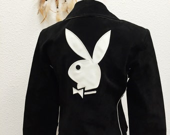 vintage black suede playboy jacket | small | moto embroidered | the bunny jacket