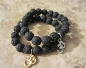 Om Bracelet. Lava Beads Bracelet. Om Charm. Yoga Bracelet. Om Jewelry. Buddha Jewelry.