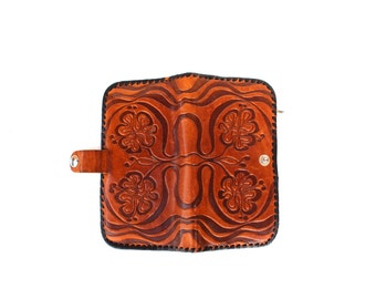 Leather Wallet Vintage Genuine Leather Real Leather Wallet with Mirror Soviet Era Tooled Leather Retro Bags and Purses