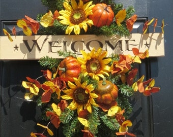 Fall Door Swag Wreath, Welcome Wreath, Fall Front Door Wreaths, Autumn Wreaths, Fall Door Wreaths, Thanksgiving Wreaths, Sunflower Wreaths