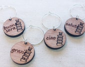 Italian wooden wine charms, set of 4