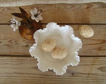 Vintage Fenton Hobnail Milk Glass Fluted Dish   Milk Glass Candy Dish, Bowl   Vintage Easter Egg Basket   White Depression Glass   Fluted