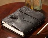 SteamPunk Leather Journal - 6x8 - Belt closure - Black - Notebook / Diary / Sketchbook