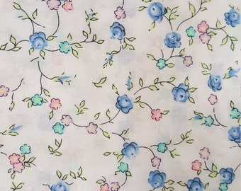 Blue Roses on White Cotton Lawn