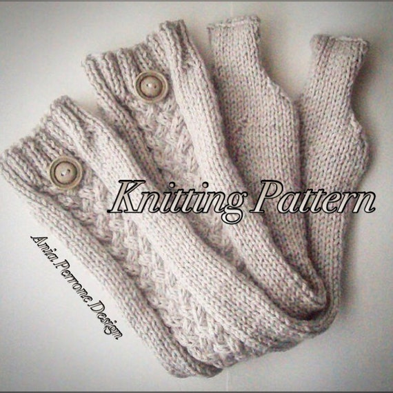Knitting Pattern Leg Warmers Bulky Yarn : Items similar to Knitting Pattern - Leg Warmers - Knit Linen Tone Yarn with C...