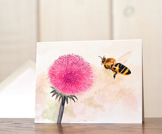Bumblebee notecards, Watercolor stationery, wildflower stationery, pollinator gardening, art reprint personal stationery, beekeeping cards