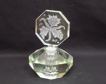 Heavy Clear Crystal Cut Perfume Bottle with Etched Flower Stopper -Vintage Mid Century Boudoir Decor Vanity Collectible Gift for Her