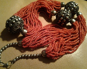 Vintage Coral Sterling Silver Bold Beautiful Artisan Made Necklace Mid Century bohemian