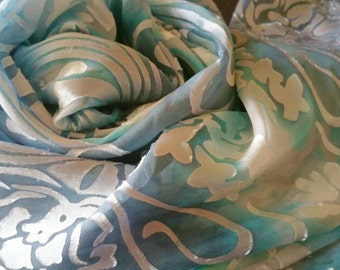 Made to Order, Handpainted silk scarf, Sexy,soft, sky blue, silk scarves and wraps, luxury accessories for women,gifts for her, baby blue