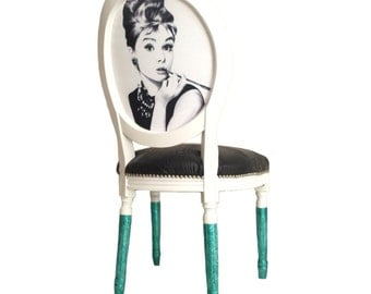 Audrey Hepburn French Louis XVI side chair upholstered in black embossed leather
