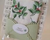 Embroidered Christmas Handkerchief Holly Keepsake Gift Antique Music Print Christmas Lullaby Teacher Pastor Co Worker Hankie Card