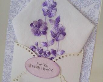 Vintage Embroidered Handkerchief Purple Lavender Thank You Keepsake Gift Friend Ladies Hanky Greeting