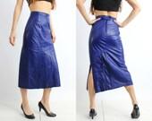 Vintage Violet Leather High Waisted Skirt Size 38