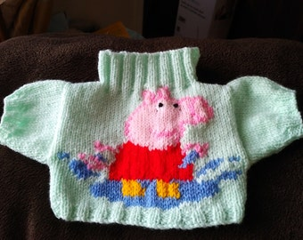 Hand Knitted Sweater for Build a Bear with Peppa Pig on the front
