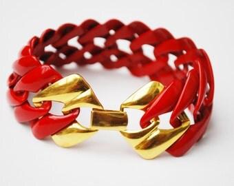 Red Enamel Chain Link Bracelet - Signed Napier - Gold Clasp  - Newport  Series - Book Piece