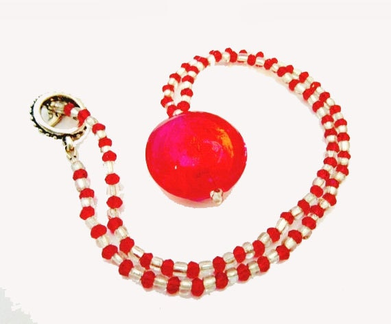 Murano Glass Bead Necklace with clear and Red color crystal glass beads