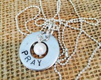 PRAY hand stamped washer necklace
