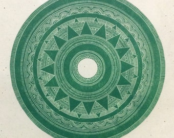 linocut - SUN-STAR, jade - 20x20 / printmaking / block print / turquoise, green / geometric art / contemporary / mandala