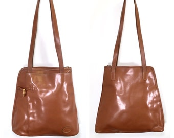 1990 Longchamp Bag Brown Leather Longchamp France Large Longchamp Vinyl Handbag Book Bag Shoulder Bag Satchel Vintage Longchamp Purse
