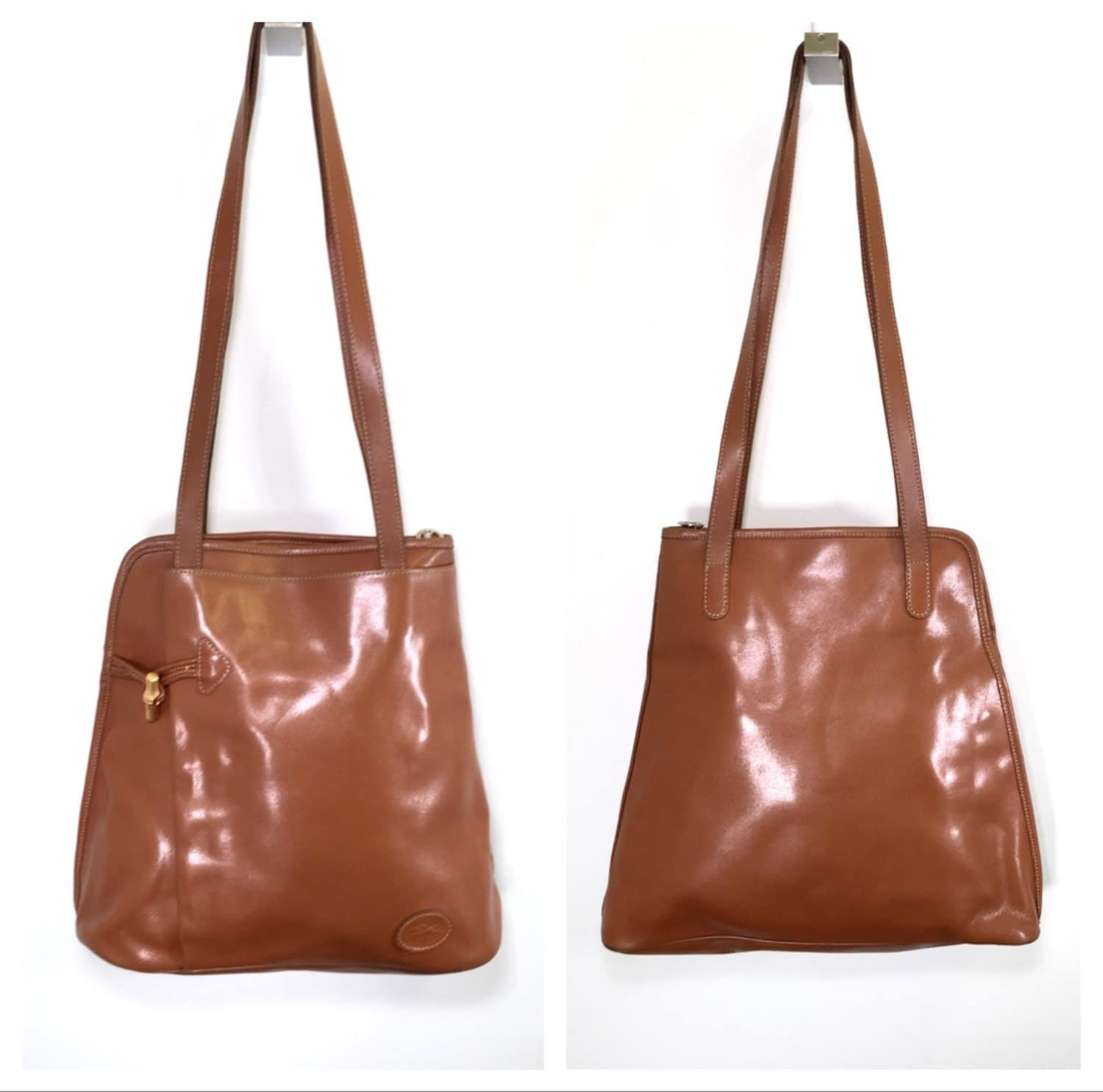 ... 1990 Longchamp Bag Brown Leather Longchamp France Large Longchamp Vinyl Handbag Book Bag Shoulder Bag Satchel ...