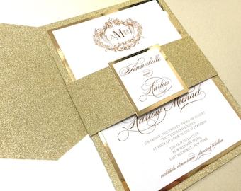 Glitter Wedding Invitation, Glitter Wedding Invitations, Gold Wedding Invitation, Foil Wedding Invitations, Glitter, Glitter Invitations