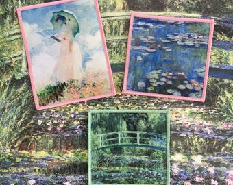 Monet - Jenni's Prints Old Paintings iron-on patches Claude Monet Jardin Giverny Impressionism Water Lilies Japanese Bridge
