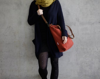 Red canvas tote bag, cross body purse, leather strap handmade shoulder bags, womens handbag