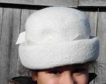 vintage white felted hat