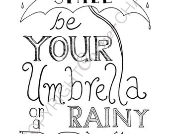 Rainy Day Embroidery Pattern, PDF Embroidery File, Springtime Quote, Embroidery Pattern, PDF Embroidery Pattern, Happiness Embroidery PDF