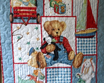 Quilt - Quilted Baby Blanket - Baby Quilt for Boy - Favorite Things