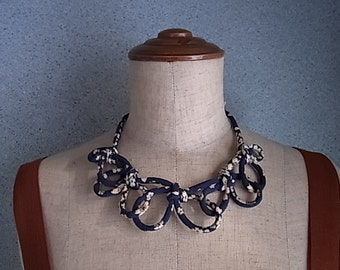 Japanese Chirimen cord knot necklace / fabric cord jewelry -dark blue sakura
