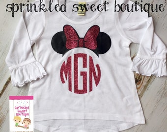Glitter Sparkle Minnie Mouse Big Bow Ears Inspired Ruffle Shirt Custom Girls Shirt First Birthday  Family Perfect for a Disney World Trip