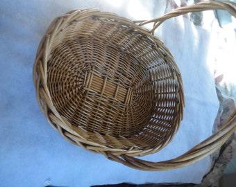 Vintage Large Wicker Basket, Rustic Wedding Card Wicker Basket, Wicker Basket, Large Oval Wicker Basket, Oval Wicker Flower Basket, Basket