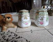Antique Nippon Gold Moriage/Slip-Floral Salt & Pepper Shakers