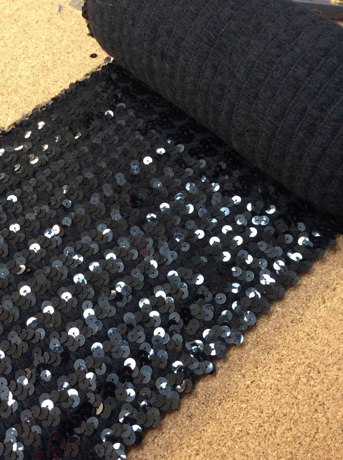 Sequin stretch fabric sequins fabric black sequins on a for Sequin fabric