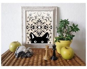Cat Art Print, Black Cat, Black And White Prints, Sweet Black Kitten, Vintage Pattern / 8X10 inches