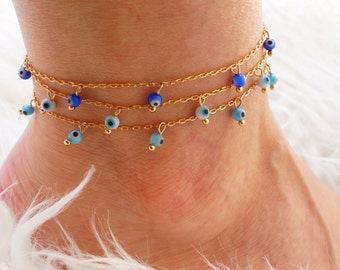 Evil Eye Anklet - Turquoise Anklet - Beaded Anklet - Boho Anklet - Bohemian Anklet - Gypsy Style Layering Anklet - Gold Filled Anklet