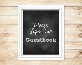 """Guestbook Wedding Sign - 8""""x10"""" - Printable - Instant Download - Please Sign Our Guestbook"""